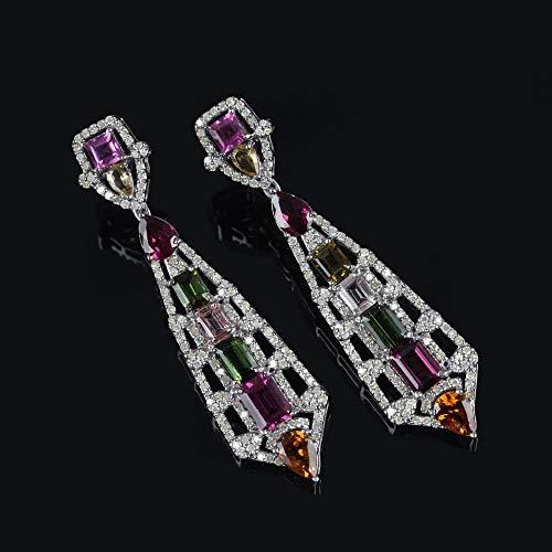 (Genuine 1.94 Ct. Diamond Pave Multi Tourmaline Dangle Earrings 925 Silver Fine Handmade Vintage Jewelry Xmas Gift For Her)