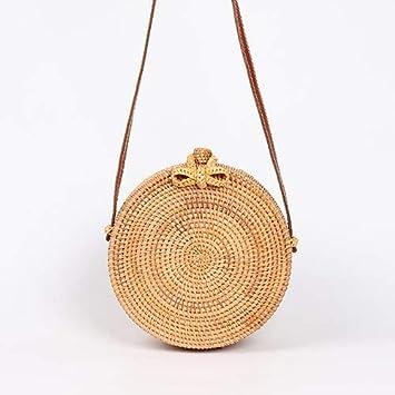 Amazon.com: ShouJiao Bolsas redondas de paja para mujer ...