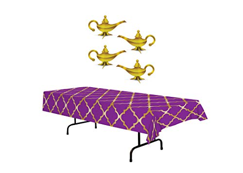 Arabian Nights Party Table Décor | Includes Purple & Gold Lattice Tablecover and 3-D Foil Lamp ()