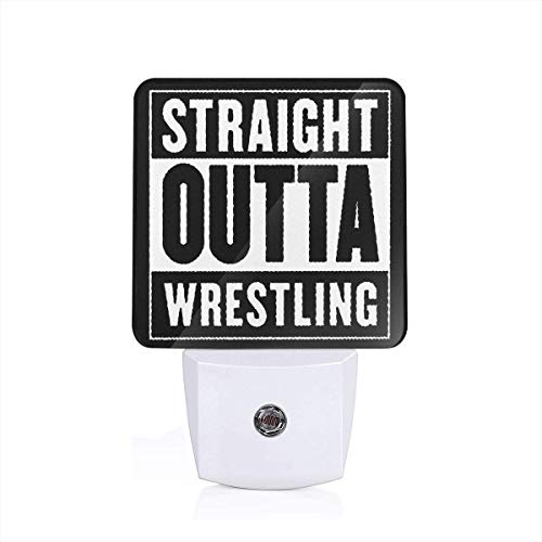 (Straight Outta USA Wrestling Night Light with Auto Dusk to Dawn Sensor for Bedroom, Bathroom, Stairs)