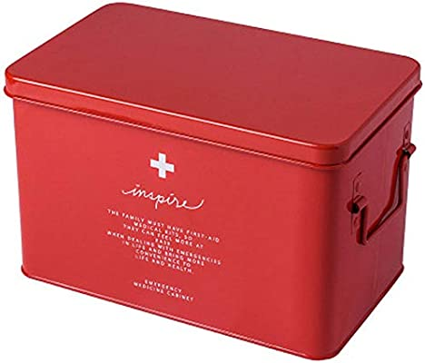 SupShop Botiquín, Medicina Almacenamiento Kit, Caja de Medicina del Hogar, Caja de Almacenamiento de Medicamentos,Caja metálica de Primeros Auxilios con asa Lateral - Metal,Red,L: Amazon.es: Salud y cuidado personal
