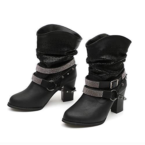 Mujer para Botas Negro JUSTSELL Shoes JUSTSELL qpSwnUY