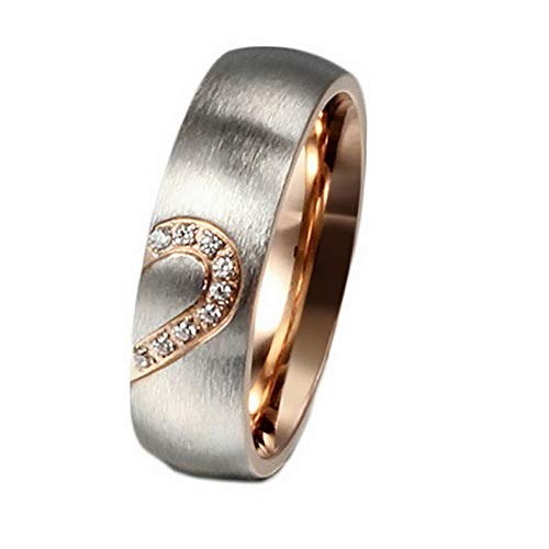Campton CZ Couple Rings Forever Love Heart Brushed Titanium Steel Wedding Promise Band | Model RNG - 11884 | 9 ()