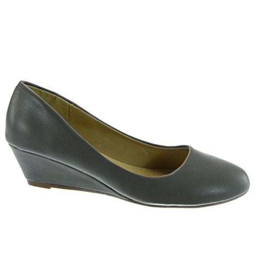 Talon On Mode Escarpin Compensé Chaussure Decolleté Angkorly 5 Slip Femme 4 Gris cm wZS0x5RI
