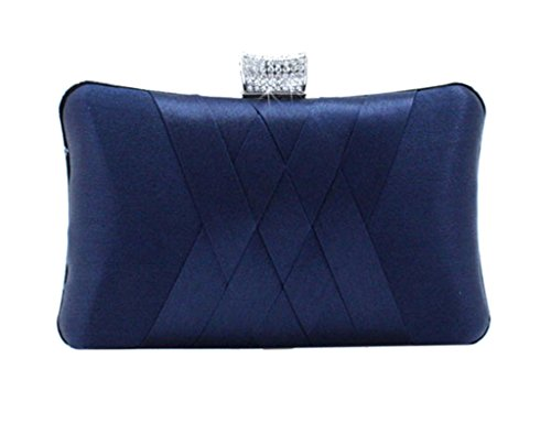 Women's Fashion Satin Dinner Bag Contracted Atmosphere Chain Handbag Deep Blue
