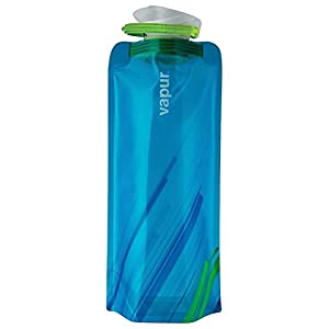 Vapur 10258 - Element 1.0L Foldable Flexible Water Bottle w/ Carabiner (Grey/Teal)