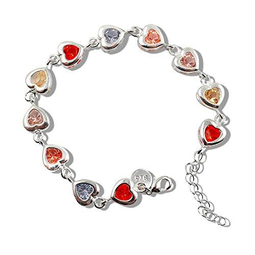 (Sinlifu Silver Plated Stylish Zircon Colorful Full Love Heart Women Tennis Link Bracelet Bangle Chain 7.5 Inch 18.5CM)