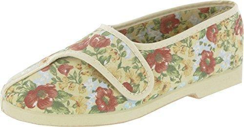 GBS Wendy Womens Slipper Easy Fastening Fabric Anti-Slip Printed Ladies Slippers Beige usMzi