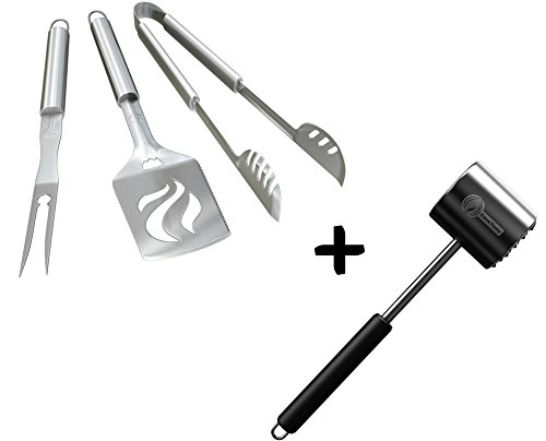 - Grill Set + Meat Tenderizer Mallet Tool - Dishwasher Safe & - Manual Hammer Pounder for Tenderizing Chicken Steak Pork & Veal in Kitchen - Non Slip Silicone Handle for Pounding