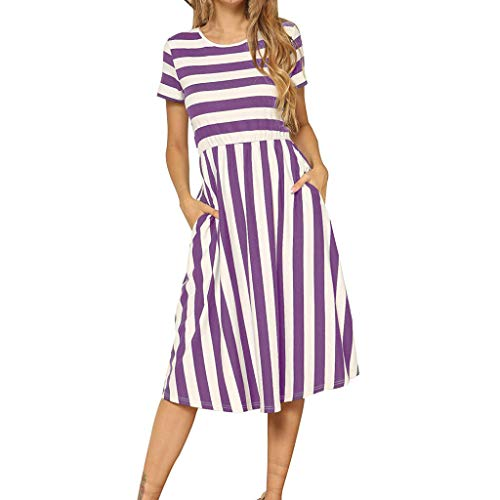 【MOHOLL】 Women's Short Sleeve Striped Casual Flowy Midi Belt Dress with Pockets Purple ()