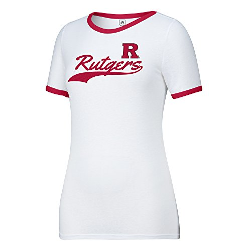 J America NCAA Rutgers Scarlet Knights Women's Make A Move Tee, White/Red, Small