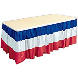 "Beistle 52170-RWB Patriotic Table Skirting, 29"" x 14', Red/White/Blue"