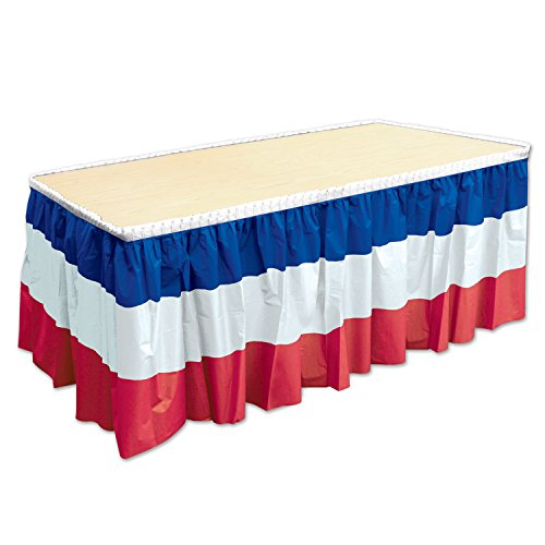 Beistle 52170-RWB Patriotic Table Skirting, 29