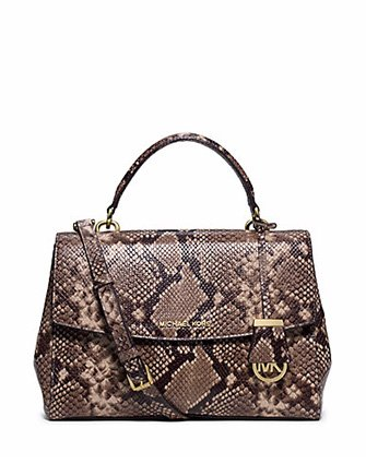 2fb81ed0c9d20 Michael Kors Ava Medium Python Snake Embossed Leather Mk Satchel Bag Dark  Khaki  Handbags  Amazon.com