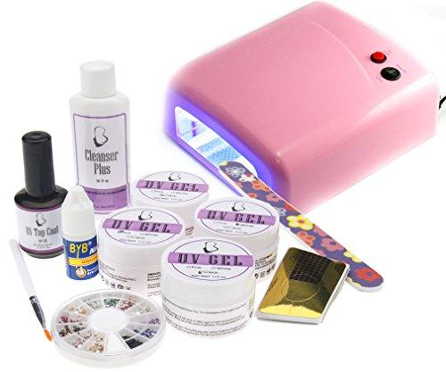 Nagelstudio Nagelkunst Pink Farbe 36W UV Lichthärtungsgerät Mit UV Gel Kit Set