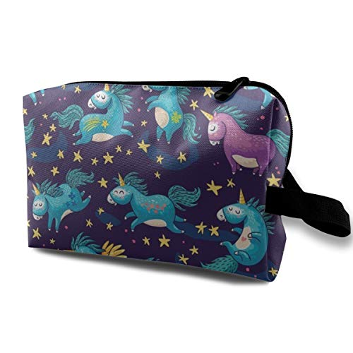 Unicorn Magic Makeup Cosmetic Case Women Cosmetic Train Case Pouch - Multi-Purpose Clutch Bag Pens Pencil Case, Carrying Case for Cosmetics, Pen, Eyeliner, -
