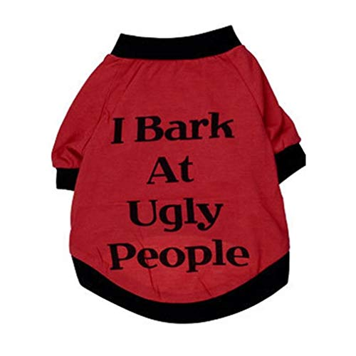 Summer I Bark at Ugly People Letter Print T Shirt Sweatshirt for Small Large Dogs Cats (S, Red)