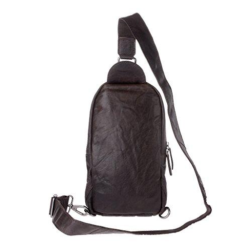 Mochila bolsa de hombro bolso mensajero hombre verdadera piel arrugada DUDU Marron oscuro