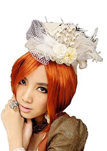 (Steampunk Victorian Hat Costume Hair Elegant Flower Feather and Veil Fascinator Cocktail Party Hair Clip Hat Lace Up Boat Shape headpiece headwear)