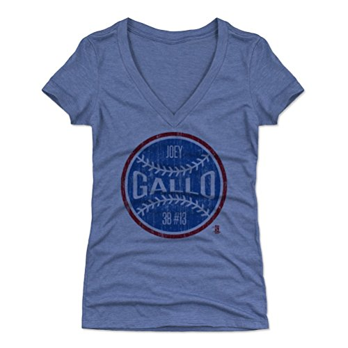 500 LEVEL Joey Gallo Women's V-Neck Shirt Small Tri Royal - Texas Baseball Women's Apparel - Joey Gallo Texas Ball B (Texas Rangers V Neck)
