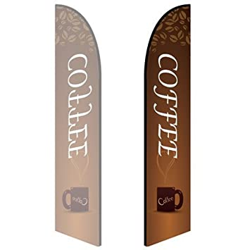 Single-Sided, Poles and Spike Base Included Coffee Shop 10ft Feather Banner - Style 2