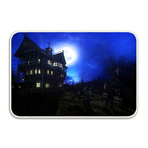 (Yves Horace Dark House Creepy Headstone Night Haunted Halloween Doormat Entrance Mat Floor Mat Rug Non)
