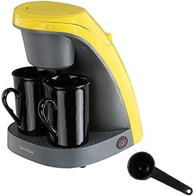 Cafetera eléctrica bicolor 2 tazas amarillo dom240j: Amazon.es: Hogar