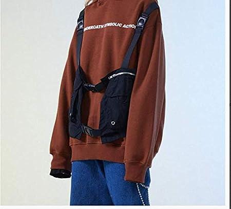 WSDMY Faux Deux Pi/èces Multi Zip Poches Gilet Hoodies Pull /À Capuche Sweats Hommes De////Mode Streetwear Tops