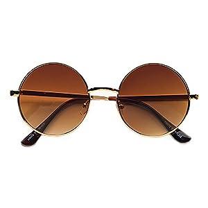 POP Fashionwear Unisex P2012 John Lennon Hippie Retro Sunglasses Gold Brown