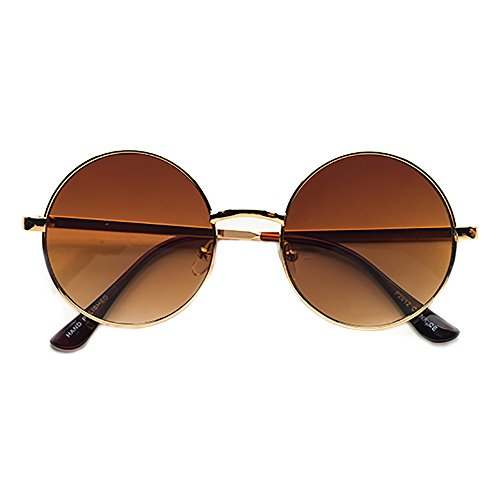POP Fashionwear Unisex P2012 John Lennon Hippie Retro Sunglasses Gold - Glasses John Hippie Lennon