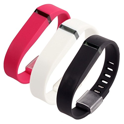 Generic Replacement Wrist Band for Fitbit Flex with Secure Fasteners Sleeve and Metal Clasps Large Pack of 3