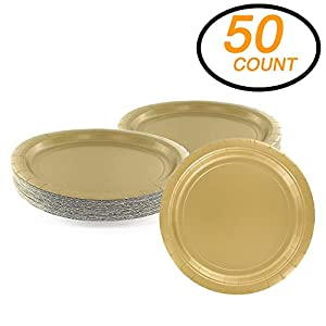 "Amcrate Gold Disposable Paper Party Plates 9"" - Ideal for Weddings, Party's, Birthdays, Dinners, Lunch's. (Pack of 50)"