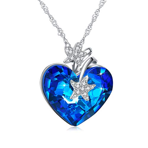 NEWNOVE 925 Sterling Silver Heart of Ocean Pendant Necklaces for Women Crystals from Swarovski (D_Blue Starfish)