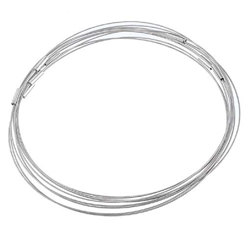 Souarts Grey Steel Wire Choker Necklace Magnet Clasps Pack of 10pcs