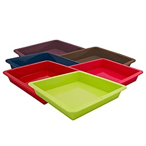 Marathon Housewares Premium Silicone Square Cake Pans, Multiple Colors