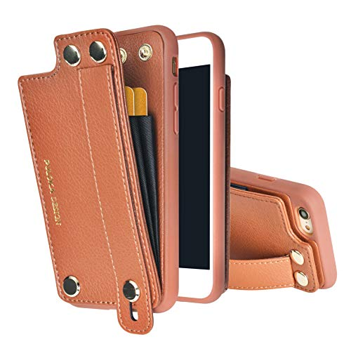 PULOKA iPhone 7 Plus Wallet Leather Case Credit Card Holder Wrist Strap Kickstand for iPhone 8 Plus (Brown)