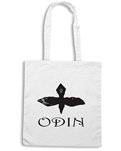 T-Shirtshock - Borsa Shopping TIR0255 Odin Raven t-shirt Bianco