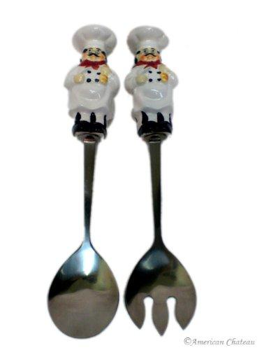Ceramic Fat French Chef Salad Server Set Fork & Spoon Servers