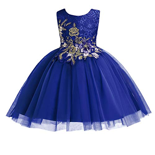 Little Big Girl Flower Embroidery Lace Ruffles Party Wedding Dress Kids Short Evening Princess Birthday Dance Pageant Ball Gown Royal Blue 7-8 Years