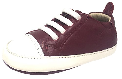 Old Soles Kid's Eazy Tread Burgundy White Soft Leather Classic Slip On Baby Shoes 23 M EU/7 M US - Eazy Old E