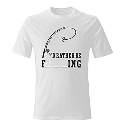 OKnown Men's Fishing American Flag T-Shirt For Fisherman I'd Rather be Fishing Evolution Fishing Funny T Shirt Tee