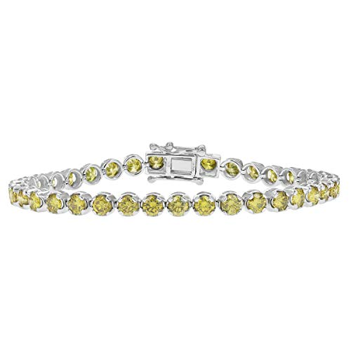 7 CT 14K White Gold Yellow Diamond Tennis Bracelet