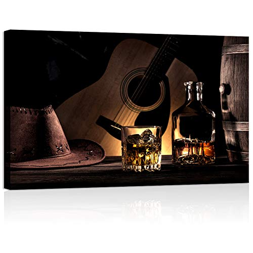 Welmeco Bar Canvas Wall Art American West Rodeo Cowboy Hat Whisky Guitar Poster Giclee Prints Retro Old Style Picture for Dining Music Pub Bar Decoration Ready to Hang (01 Cowboy, 24