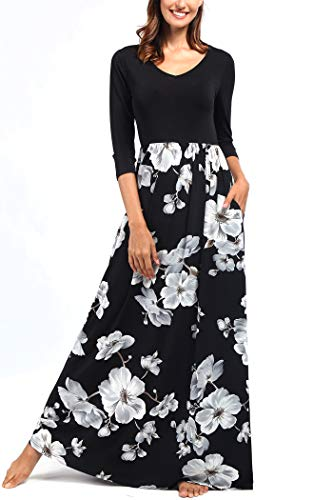 (Comila Women Dresses Plus Size, Boho Floral Summer Beach Maxi Dress School Juniors V Neck Gradution A Line Long Dress Formal Party Dress Black/White XXL (US 18-20))