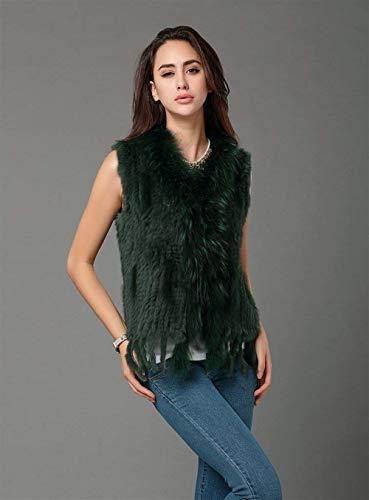 Warm Femme Taille Clothing Festives Houppe Automne Hiver De Grande Elégante Art Fourrure Gilet Dunkelgrün Outerwear Blouson Manteau Sleeveless Vest S7gxBwnqE8
