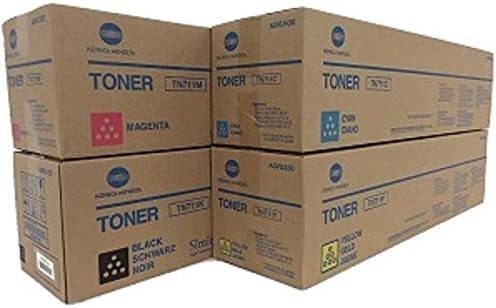 Konika Minolta TN-711 CKMY Toner Cartridge Set of Black Cyan Magenta Yellow 1 Each In Retail Packing