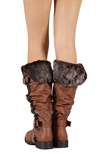 Fourever Funky Women's Vegan Leather Furry Cuff Knee High Slouch Rider Boots Brown w2zfwfyE6K