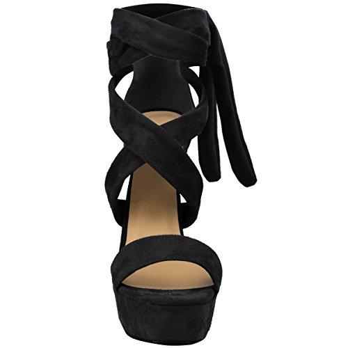 Sintético Bloque Talla El Negro Tobillo Fiesta Con Tacones Zapatos Abierto Corbata Ante Plataformas Cordones Por Mujer w6AH0q7
