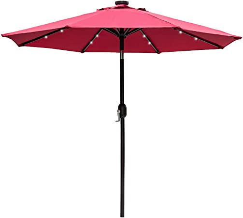 Amazon Com Sundale Outdoor 7 Ft Solar Powered 24 Led Lighted Patio Umbrella Table Market Umbrella With Crank And Push Button Tilt For Garden Deck Backyard Pool 8 Steel Ribs Polyester Canopy