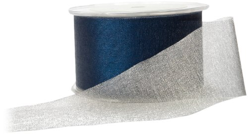 May Arts 2-Inch Wide Ribbon, Blue and Silver Reversible by May Arts